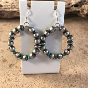 Navajo Sterling Silver And Turquoise Beads Dangle